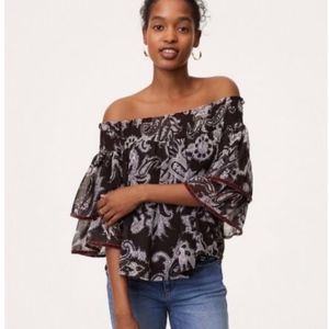 LOFT Velvet Trim Off Shoulder Paisley Top